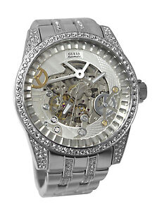 Guess-U0012G1-automatic-silver-dial-stainless-steel-bracelet-women-watch-NEW