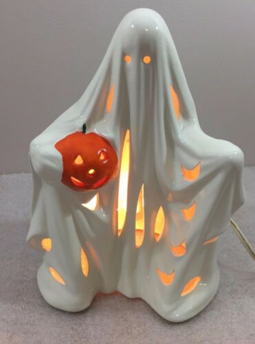"Halloween GHOST Holding Pumpkin Lighted ceramic figurine 9.5""H"