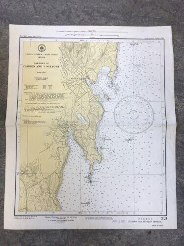 VINTAGE RARE 1951 Nautical Chart Maine CAMDEN & ROCKPORT HARBORS Sailing NOAA