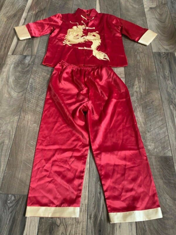 Lian Lin Oriental Asian Embroidered Gold Dragon Jacket Pants Size 12 Years Old