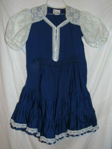 Vtg Jeri Bee Navy Blue Shirt Skirt Set Square Dance Western Rockabilly Malco Med