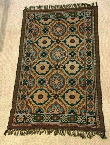 Stunning Antique Jacquard Wool Woven Multi-Color Coverlet Blanket mid1800