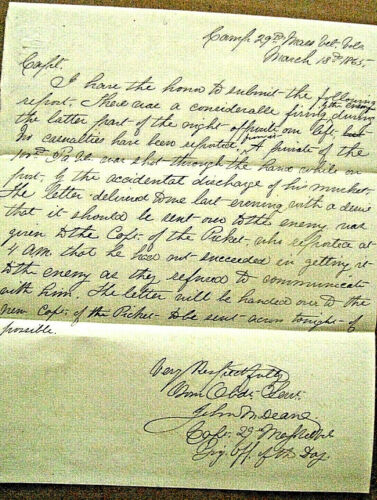 CIVIL WAR PICKETS PASS LETTERS TO THE ENEMY FORT STEDMAN PETERSBURG VIRGINIA