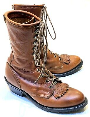 vtg Double HH Packer Logger Lacer Brown Leather Western Work Boots sz 9.5 M 9383