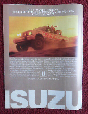 1985 Print Ad ISUZU 4x4 Pickup Truck ~ Improve Your Chances of Winning BAJA 1000