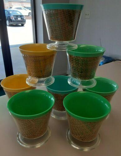 8 Raffiaware Sherbet / Dessert Cups, Plastic w/Burlap. 4 Colors. Mid-Century