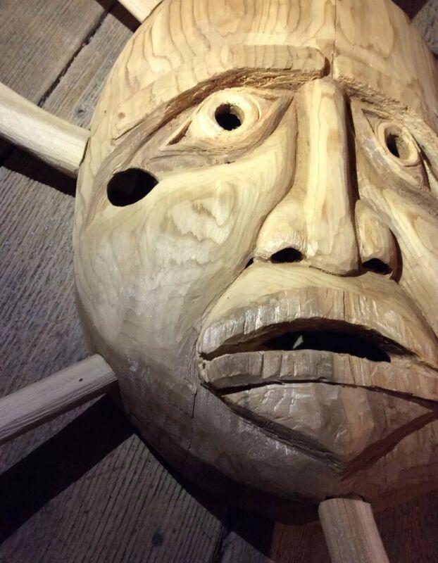 Vintage Northwest Coast Salish Sun Mask Carved Cedar Native American