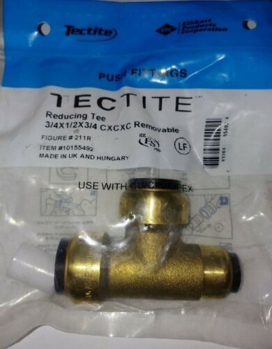"""Tectite Sharkbite Style Push-to-Connect Reducing Tee, 3/4"""" x 1/2"""" x 3/4"""""""