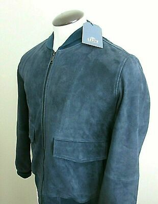 Levis Mens Made & Crafted Italian Suede Blue Leather Jacket Size Small NWT