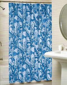 Coastal Collection Blue Seashells Shells Coral Starfish Beach Shower Curtain