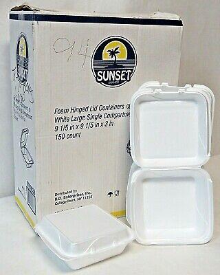 Sunset Brand 385 Foam Hinged Lid Containers White Large Single Compartment 9x9x3