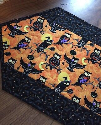 Quick Costume For Halloween (Handcrafted-Quilted Table Runner - Owls Ready for Halloween - Whimsical)