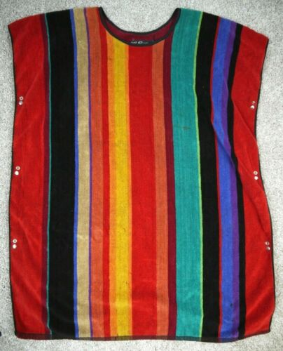Vintage Terry Cloth Poncho Beach Cover Up Towel 70s Surf Shirt Smock Top Pool