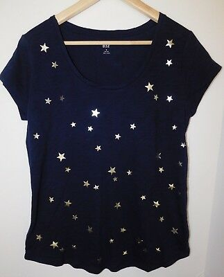 NWT GAP Women's Easy Scoop Neck T-Shirt Blue/Silver Stars Round Hem XS & M New