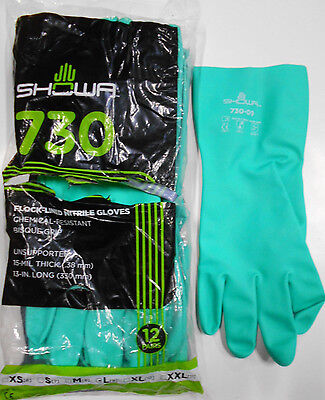 Bag Of 12 Pair Showa 730 Chemical Resistant Nitrile Glove Flock-lined Size 9