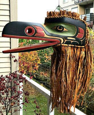 Northwest Coast Native Art Stunning Huge Articulating Raven mask sculpture Native Art Masks
