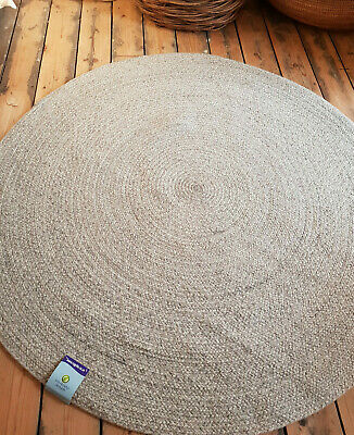 120cm x120cm Circle Grey 100% Wool weave Quality Reversible Circular rugs