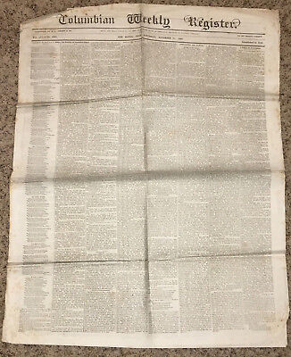 Antique Newspaper  November 28 1868  Columbian Weekly Register  New Haven  Conn