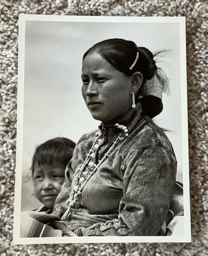 1930's Native American Woman & Child Black and White Photograph