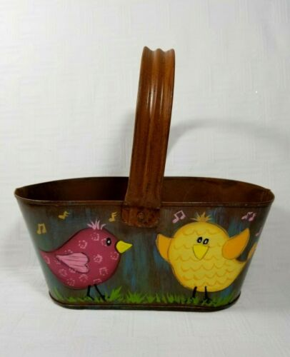 """Small Metal Oval Bucket Handled Basket Hand Painted Singing Birds 8.25""""l"""