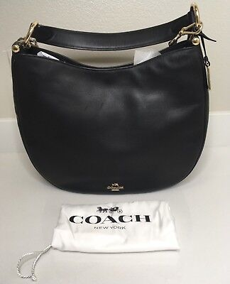 Brand New Coach Nomad Black in Burnished Glovetanned Leather Handbag Crossbody (Coach Nomad Crossbody In Burnished Glovetanned Leather)