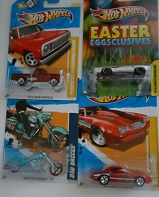 NEW Hot Wheels Lot of 4 Easter Cuda, 81 Camaro Dodge Lil Red Express, Bad Bagger