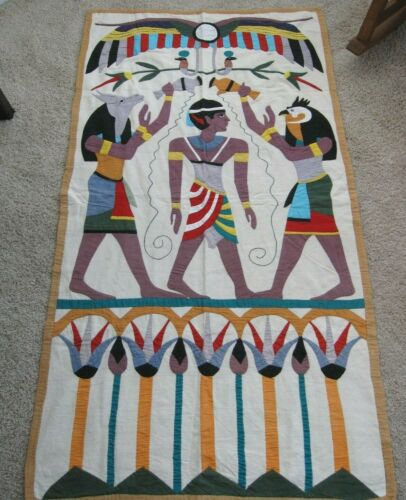 Antique Egyptian Hand Made Applique Wall Hanging Tapestry Quilt Horus & Anubis
