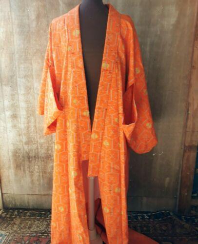 """Japanese Yukata KIMONO ROBE Orange Woven Pattern Unlined Wool Very Long 62"""""""