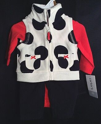 NWT Infant Girls Carter's 3pc Cowgirl Outfit NB Polka Dots Cruella Vest Fleece - Newborn Cowgirl Outfit