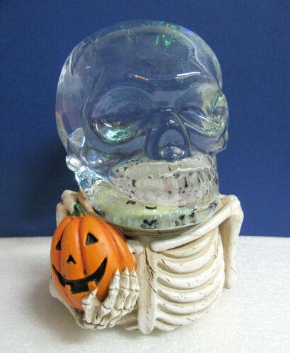 Skeleton Woman Bride with Pumpkin Halloween Festive Snowglobe Music Box