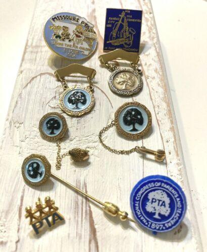 PTA Parents Teachers Association Membership Pins Goldtone Set of 9 Pins