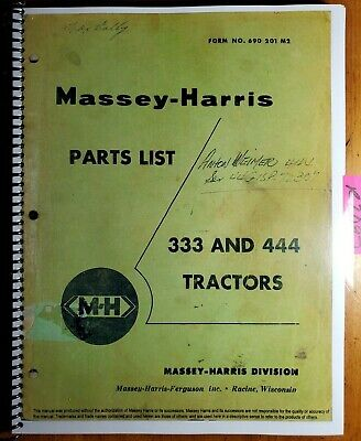 Massey Harris 333 444 All Fuels Tractor Parts List Manual 690 201 M2 457