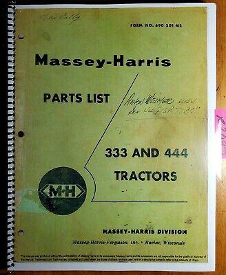 Massey Harris 333 444 All Fuels Tractor Parts List Manual 690 201 M2 457