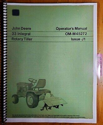 John Deere 33 Integral Rotary Tiller -300000 For 120 140 Tractor Operator Manual