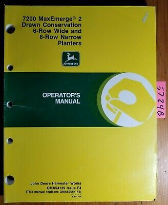 John Deere 7200 Maxemerge 2 Drawn Conservation 6rw 8rn Planter Operator Manual