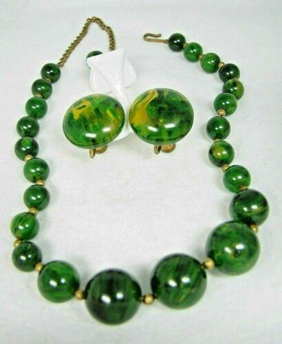 Vintage Green Marbled BAKELITE Graduated Bead Necklace & Earrings Set