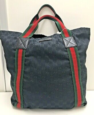 auth vintage Gucci sherry GG monogram canvas black large tote hand shoulder bag