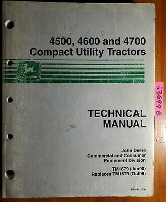 John Deere 4500 4600 4700 Compact Utility Tractor Technical Manual Tm1679 600