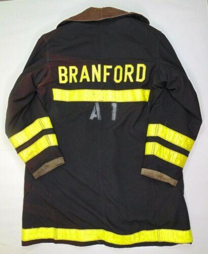 VTG Globe Shipmans Firefighter Turnout Jacket Size L Branford Reflective Black