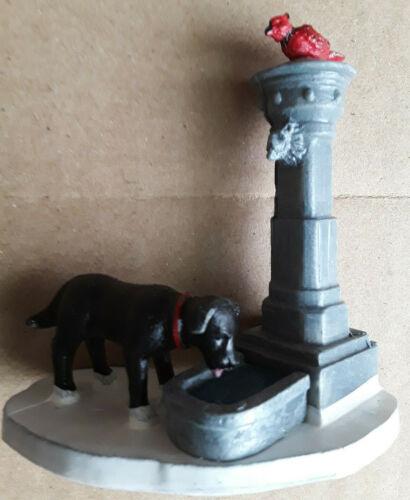 LEMAX VILLAGE DOG DRINKING FOUNTAIN WITH RED CARDINAL BIRD, BLACK DOG 74310