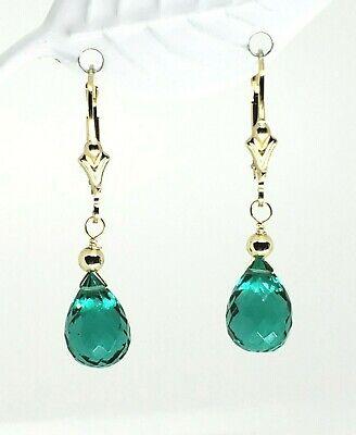 14k Yellow Gold Filled Emerald Quartz Briolette Drop Dangle Earrings