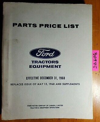 Ford Tractor Canada Parts Price List Manual 1968