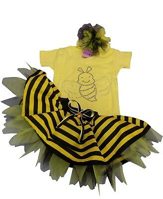 Bumble Bee Tutu (BUMBLE BEE TUTU BABIES 80S FANCY DRESS PARTY BABY GROW TODDLER T SHIRT BOOK WEEK)