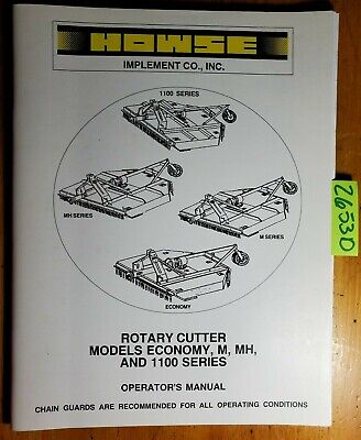 Howse Rotary Cutter Economy M Mh 1100 Series Operator Owner Manual Om100-05 07