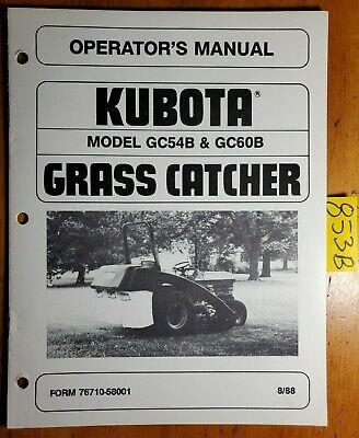 Kubota Gc54b Gc60b Grass Catcher For Rc54-b Rc60-b Mower On B1550 B1750 Manual