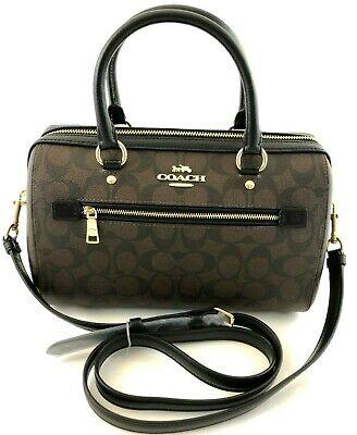 New Authentic Coach F83607 Rowan Satchel In Signature Handbag Purse Brown/Black