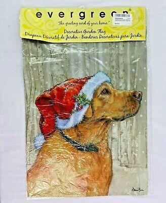 Labrador Dog Yard Flag Evergreen 12 X 18 Garden Golden Retriever Decor Banner