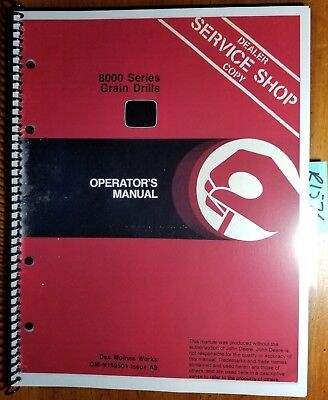 John Deere 8000 Series Grain Drill Sn -25000 Owner Operator Manual Om-n159501