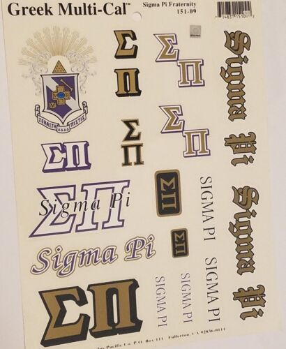 Sigma Pi Stickers of Letters for Outside Glass, Car, Tablet (1 Sheet)
