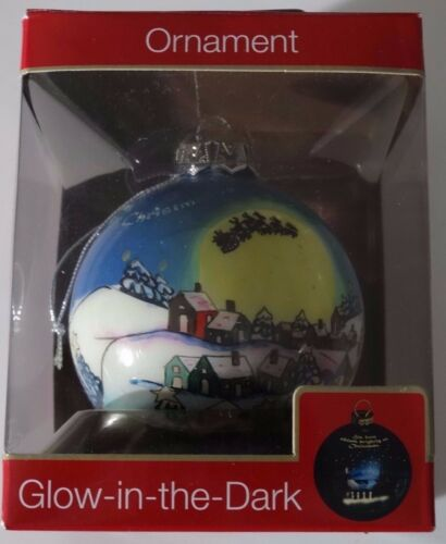 American Greetings Santa Sleigh Town Christmas Ball Glow in Dark Ornament NIB